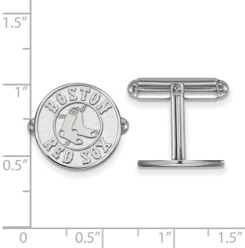 Rhodium-Plated Sterling Silver Boston Red Sox Round Cuff Links, 15MM