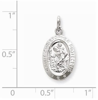 Sterling Silver Saint Christopher Medal Pendant (22X10 MM)