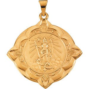 14k Yellow Gold Round St. Raphael Medal (31x31MM)