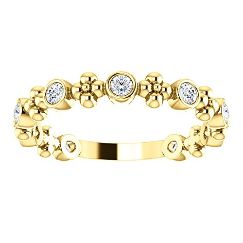 Genuine Diamond Beaded Ring, 14k Yellow Gold (.25 Ctw, G-H Color, I1 Clarity)