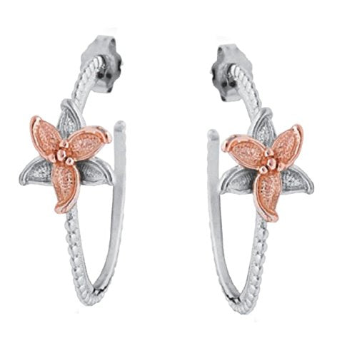 10k Rose Gold Flower Hoop Earrings, Rhodium Plated Sterling Silver