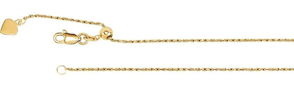 14k Yellow Gold Rope Chain Necklace, Adjustable to 22