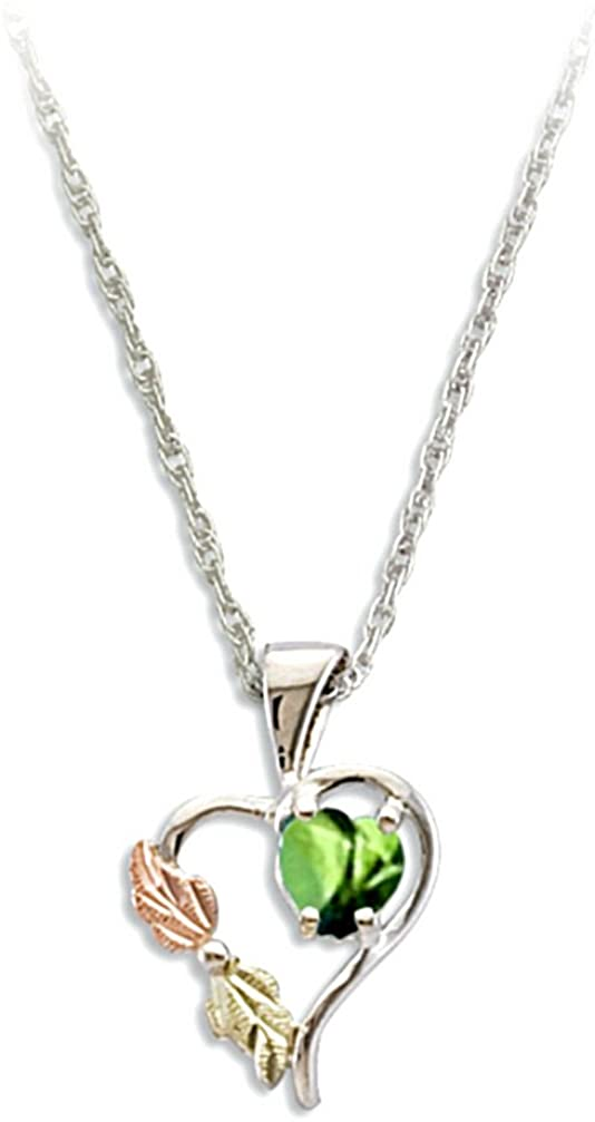 Green CZ August Birthstone Heart Pendant Necklace, Sterling Silver, 12k Green and Rose Gold Black Hills Gold Motif, 18""