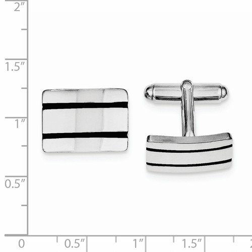 Rhodium-Plated Sterling Silver Black Enameled Square Cuff Links, 19X15MM