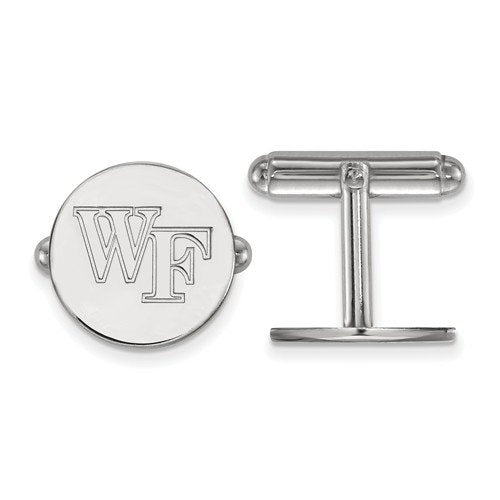 Rhodium-Plated Sterling Silver Wake Forest University Cuff Links, 15MM