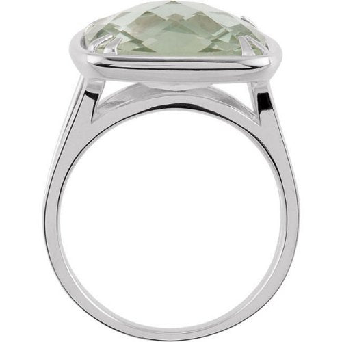 Green Quartz Antique Square Sterling Silver Ring, Size 6.5 to 7