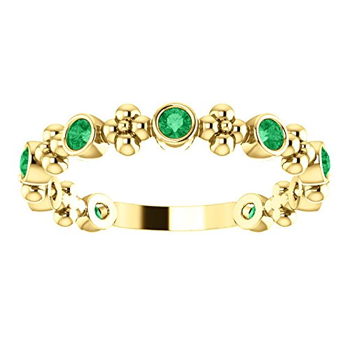 Created Emerald Beaded Ring, 14k Yellow Gold, Size 7.5