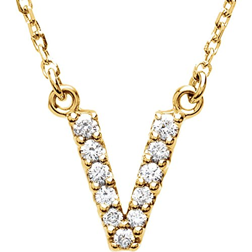 "14k Yellow Gold Diamond Initial 'V' 1/8 Cttw Necklace, 16"" (GH Color, I1 Clarity)"