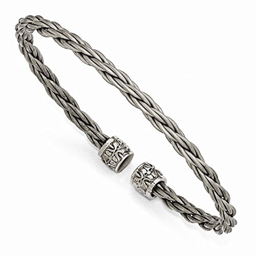 Men's Signature Cable Collection Gray Titanium 5mm Cable Wire with Cast Titanium Accent Cuff Bangle Bracelet, 7""