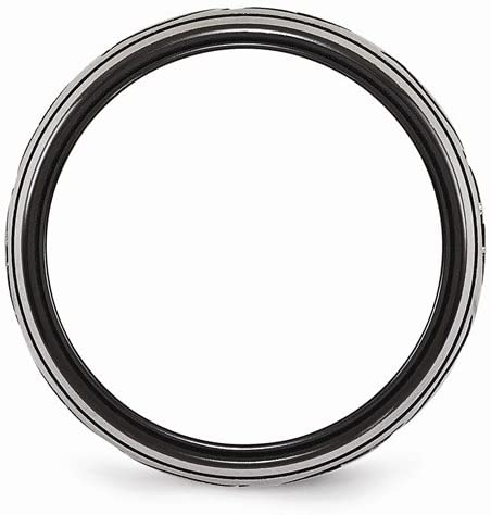 Edward Mirell Black Titanium and Brushed Titanium 10mm Wedding Band, Size 14