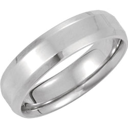 6mm 14k White Gold Comfort Fit Beveled Edge Band Sizes 4 to 20