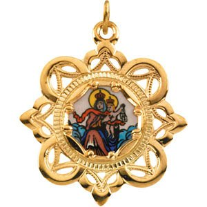 10k Yellow Gold Lady of Mount Carmel Framed Enamel Pendant (25.75x25.75 MM)