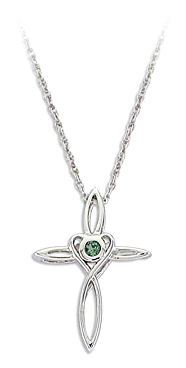 Dark Green Montana Sapphire Cross Pendant Necklace, Rhodium Plate Sterling Silver, 18""