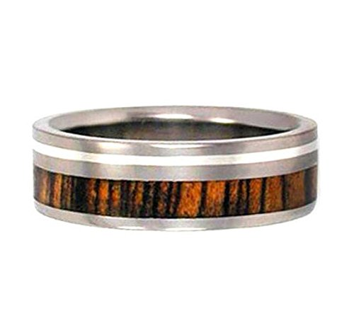 Bocote Wood, Inlaid Sterling Silver 7mm Comfort Fit Titanium Wedding Band, Size 10