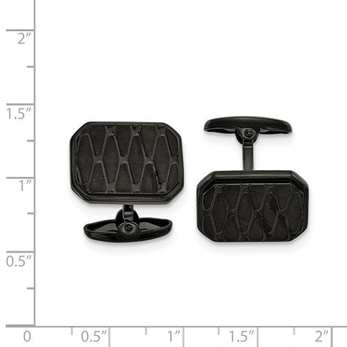Stainless Steel Black IP-Plated Cuff Links, 19.75x15.99MM