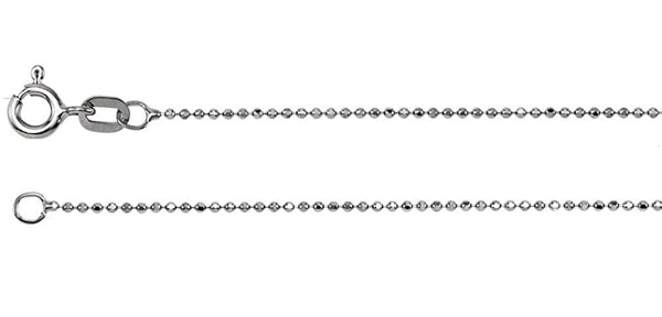 14k White Gold Rhodium-Plated 1.00mm Solid Diamond-Cut Bead Chain, 7""