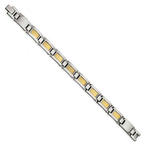 Men's Polished Stainless Steel 11mm 18k Yellow Gold Foil Bracelet, 8.25""