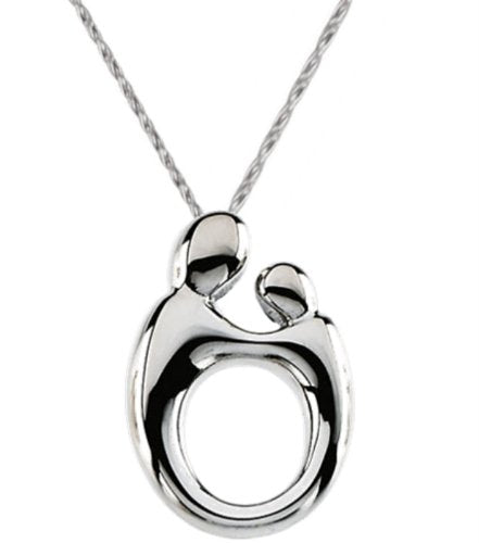 Small Mother and Child Rhodium Plated Sterling Silver Necklace, 18""