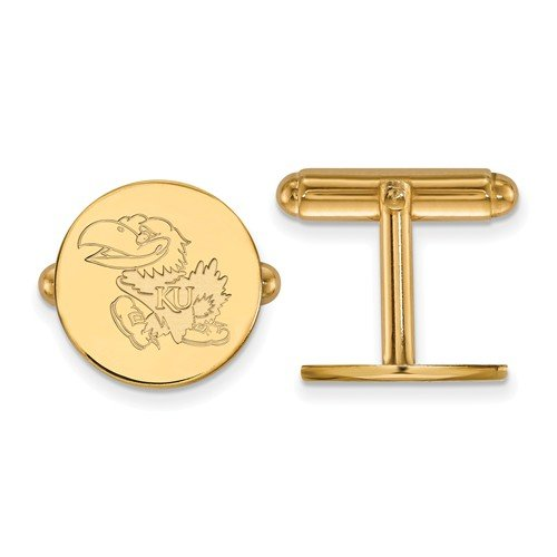 Gold-Plated Sterling Silver University Of Kansas Round Cuff Links, 15MM