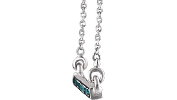 "16-Stone Blue Diamond Bar Rhodium Plate 14k White Gold Pendant Necklace, 18"" (.16 Ctw, Teal Blue, I2 Clarity)"