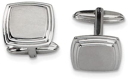 Stainless Steel Square Brushed Cuff Links, 15X16MM