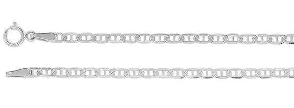 2.25mm 14k White Gold Anchor Chain, 18""