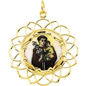 10k Yellow Gold St. Anthony Framed Enamel Pendant (26 MM)