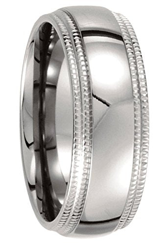Titanium 8mm Double Milgrain Comfort Fit Ring, Size 7.5