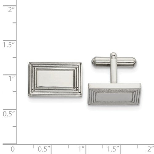 Stainless Steel Polished Rectangular Cuff Links, 17.85MMX17.29MM