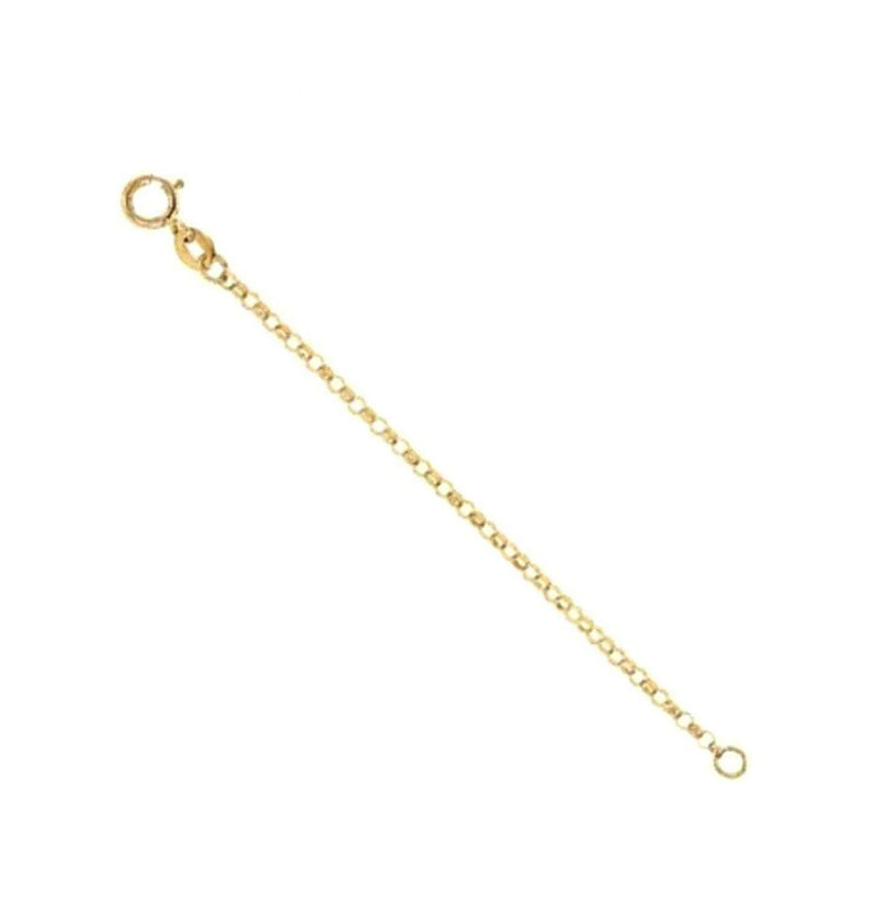 1.5mm 14k Yellow Gold Hollow Belcher Rolo Chain Necklace Extender and Safety Chain, 3""