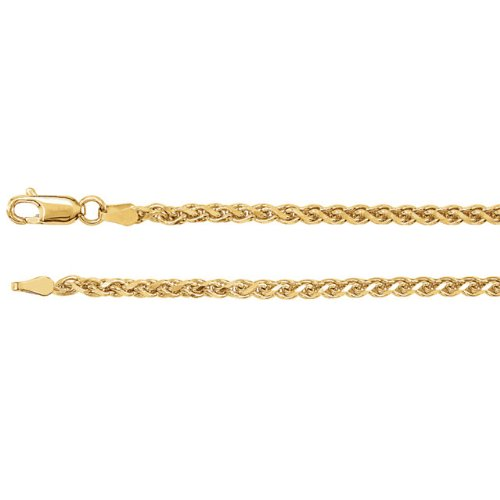 2.75mm 14k Yellow Gold Diamond Cut Wheat Chain Bracelet, 7""