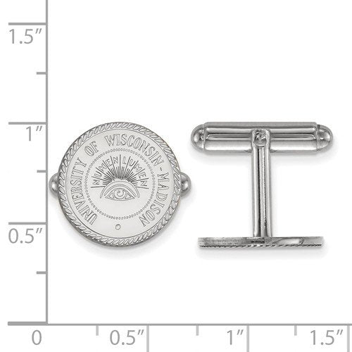 Rhodium-Plated Sterling Silver University Of Wisconsin Crest Cuff Links, 15MM