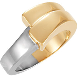 14k Yellow and White Two Step Bypass Ring, Size 6 to 7