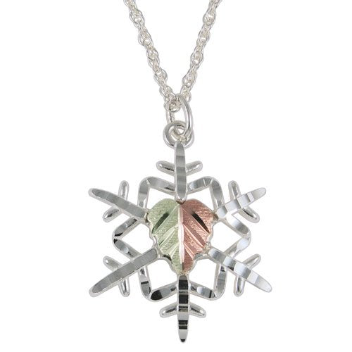 Snowflake Pendant Necklace, Sterling Silver, 12k Green and Rose Gold Black Hills Gold Motif, 18''