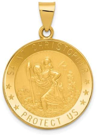 14k Yellow Gold Saint Christopher Medal Pendant (31X22 MM)