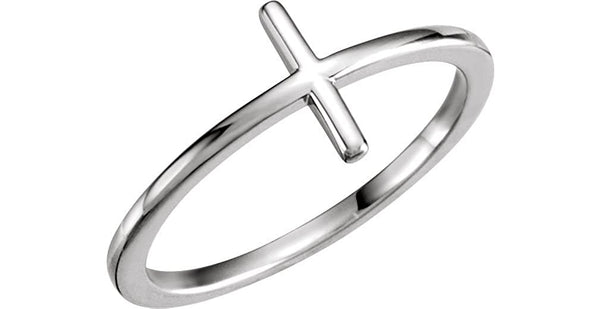 Sideways Cross Rhodium Plated 14k White Gold Ring