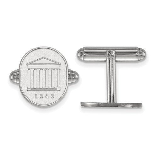 Rhodium-Plated Sterling Silver University Of Mississippi Crest Cuff Links,16X13MM
