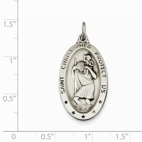Sterling Silver Saint Christopher Medal Charm Pendant (35X17 MM)