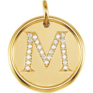 "Diamond Initial ""M"" Pendant, 14k Yellow Gold (0.125 Ctw, Color GH, Clarity I1)"