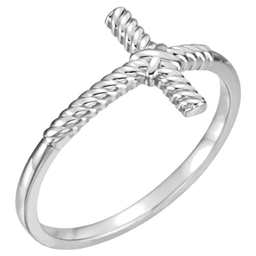 Sideways Rope Cross Rhodium Plated 14k White Gold Ring, Size 7.25
