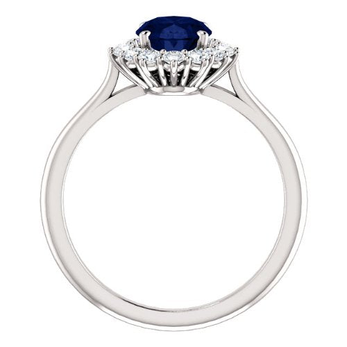 Sapphire and Diamond Halo 14k White OR Yellow Gold Ring, Size 7