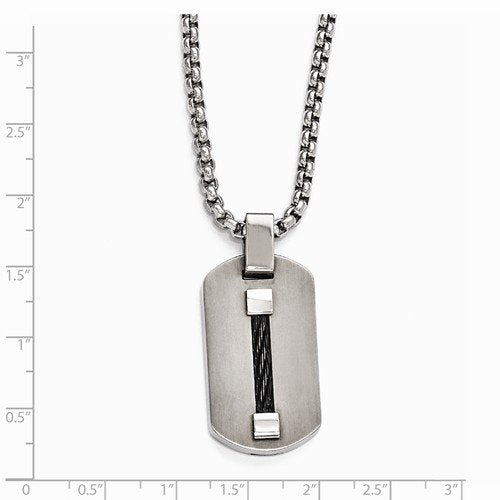 Edward Mirell Titanium Dog Tag and Cable Pendant Necklace, 20""