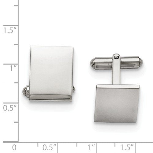 Stainless Steel Engravable Polished Rectangle Cuff Links,14X17MM