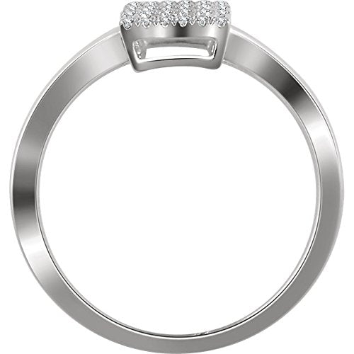 Diamond Triple Square Ring, 14k White Gold, (1/4 Ctw, Color H+, Clarity I1), Size 7
