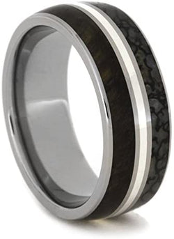 Tiger's Eye, Dinosaur Bone, Sterling Silver Stripe 8mm Comfort-Fit Titanium Band, Size 11.25