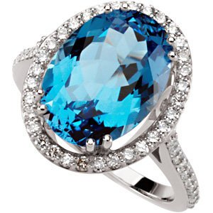 7.50 Ct Swiss Blue Topaz and 1/2 Ctw Diamond Ring in 14k White Gold, (GH, I1, .50 Ctw), Size 7