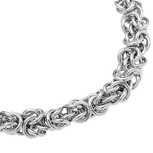 Men's Stainless Steel Byzantine Chain Bracelet, 8.5""