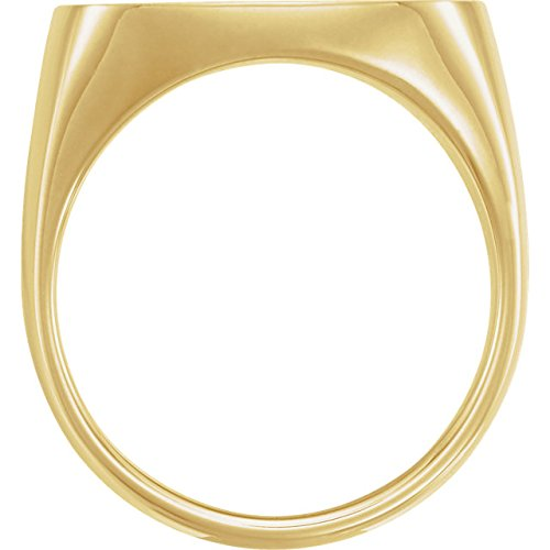 Men's Closed Back Square Signet Ring, 18k Yellow Gold (20mm) Size 12.25