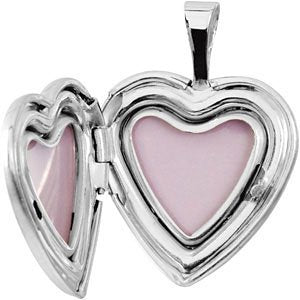 Satin-Brush Heart Baptismal Sterling Silver Locket (16.50X15.80 MM)