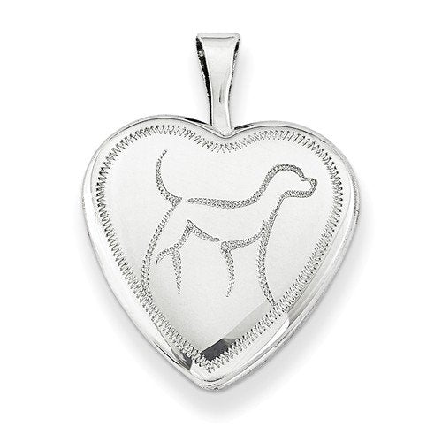 Sterling Silver Diamond-Cut Dog Locket Pendant Necklace, 18""